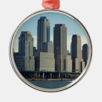 New York City Tall Buildings River View Metal Ornament
