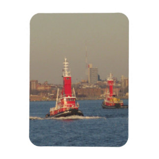 new york city tall red tug boats magnet