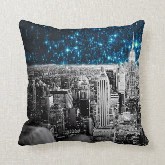 New York City Teal Stars Throw Pillow