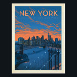 "New York City | The City of Dreams Postcard<br><div class=""desc"">Anderson Design Group is an award-winning illustration and design firm in Nashville,  Tennessee. Founder Joel Anderson directs a team of talented artists to create original poster art that looks like classic vintage advertising prints from the 1920s to the 1960s.</div>"