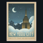 "New York City | The City That Never Sleeps Postcard<br><div class=""desc"">Anderson Design Group is an award-winning illustration and design firm in Nashville,  Tennessee. Founder Joel Anderson directs a team of talented artists to create original poster art that looks like classic vintage advertising prints from the 1920s to the 1960s.</div>"