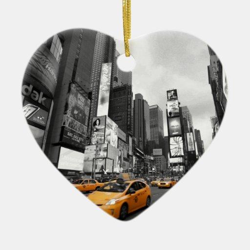 New York City - Times Square - los E.E.U.U. Adorno De Cerámica En Forma De Corazón
