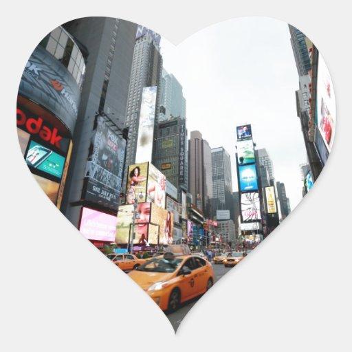 New York City - Times Square - los E.E.U.U. Pegatina En Forma De Corazón