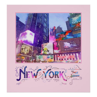 New York City Times Square Night View Watercolor Poster