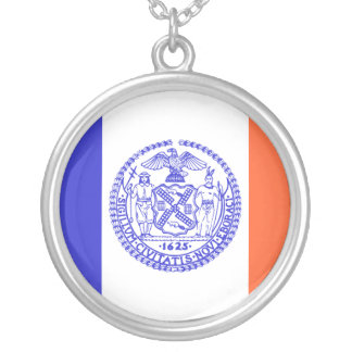 New York City, United States flag Silver Plated Necklace