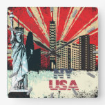 new york city usa vintage grunge clock