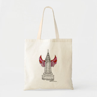New York City Valentine NYC Cupid Wings Skyscraper Tote Bag
