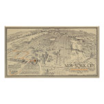 New York City - Vintage pictorial map - 1932 Poster