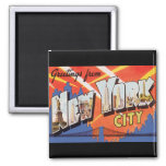 New York City Vintage Travel 2 Inch Square Magnet