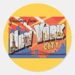 New York City Vintage Travel Classic Round Sticker