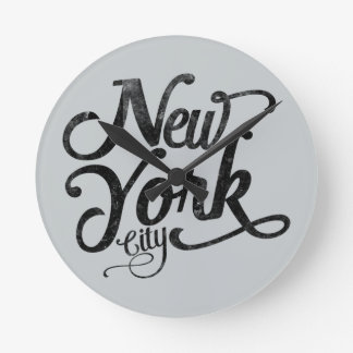 New York City vintage typography Round Clock