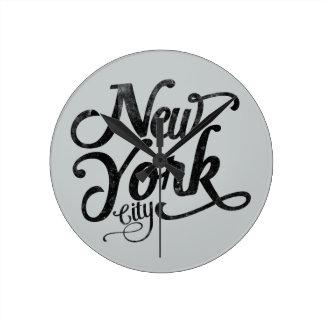 New York City vintage typography Round Clock