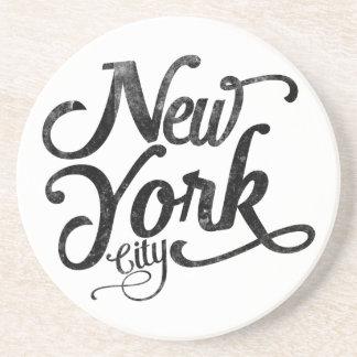 New York City vintage typography Sandstone Coaster