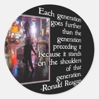 NEW YORK CITY W/ REAGAN QUOTE - GENERATIONS CLASSIC ROUND STICKER