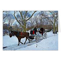 New York City Winter Horse Digital Art Christmas Card