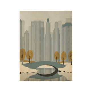 New York City Winter Poster Wood Poster