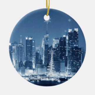 New-York City Winter Skyline Christmas Addition Ceramic Ornament