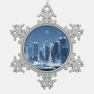 New-York City Winter SkyLine Snowflake Pewter Christmas Ornament