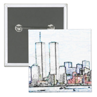 New York City with Twin Towers Button