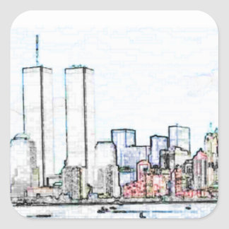 New York City with Twin Towers Sticker