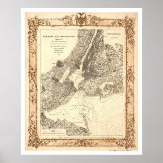 New York City y mapa de los alrededores por Linden Poster
