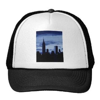 New York City y noche azul Gorro De Camionero