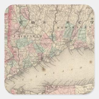 New York City y vecindad Calcomanías Cuadradass Personalizadas