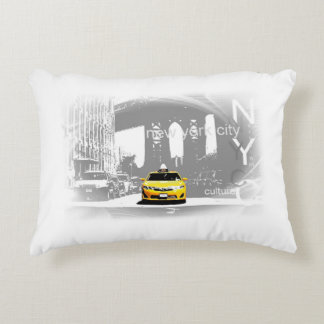 New York City Yellow Taxi Pop Art Decorative Pillow