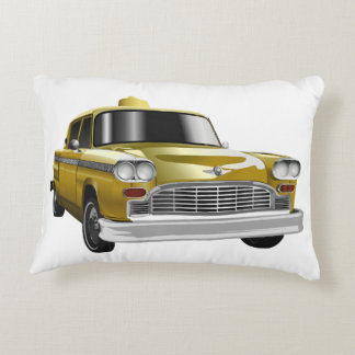 New York City Yellow Vintage Cab Decorative Pillow