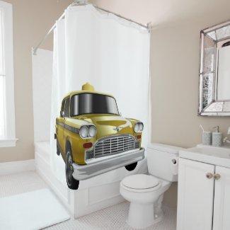 New York City Yellow Vintage Cab Shower Curtain
