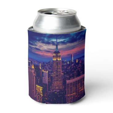 USA Themed New York Cityscape at Night Can Cooler