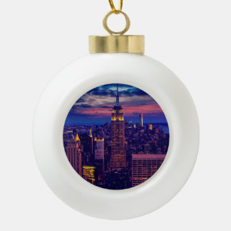 New York Cityscape at Night Ceramic Ball Christmas Ornament