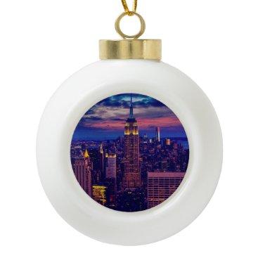 USA Themed New York Cityscape at Night Ceramic Ball Christmas Ornament
