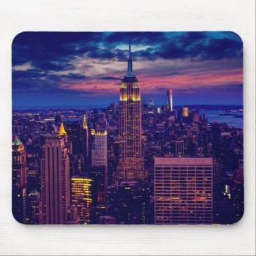 USA Themed New York Cityscape at Night Mouse Pad