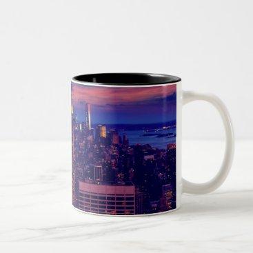 USA Themed New York Cityscape at Night Two-Tone Coffee Mug