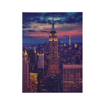 USA Themed New York Cityscape at Night Wood Poster
