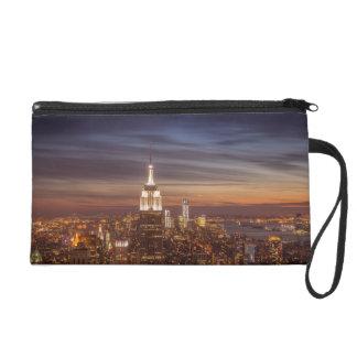 New York Cityscape Skyline - Skyscrapers at Sunset Wristlet Purse