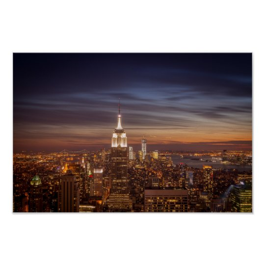 New York Cityscape Skyline - Skyscrapers at Sunset Poster