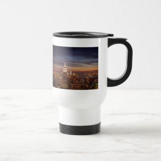 New York Cityscape Skyline - Skyscrapers at Sunset Travel Mug