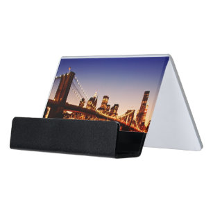 New york city colors business card holders cases zazzle new york cityscape with bridge over river desk business card holder reheart Image collections