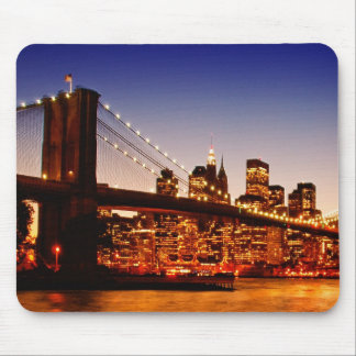 New York cityscape with bridge over river Mouse Pad