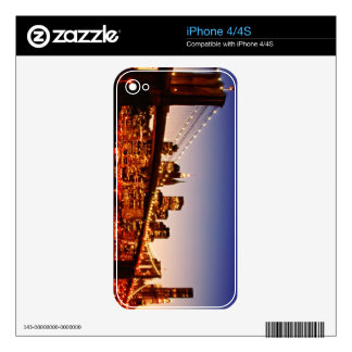 New York cityscape with bridge over river Skins For The iPhone 4S