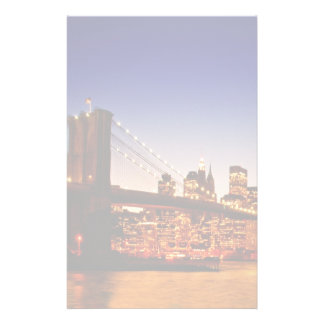 New York cityscape with bridge over river Custom Stationery