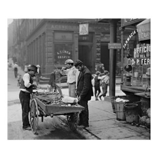New York Clam Seller in Mulberry Bend 1900 Poster