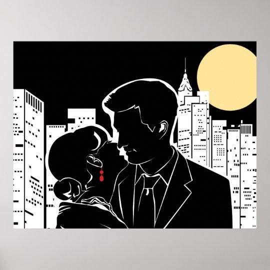 New York Couple's Kiss Poster