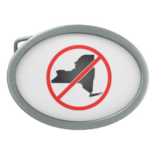 New York Cross Out Symbol Oval Belt Buckles