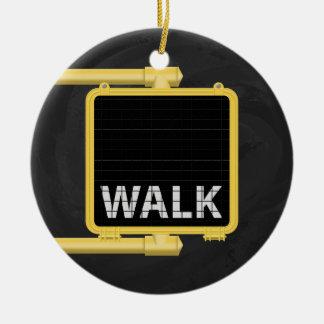 New York Crosswalk Sign Walk Ceramic Ornament