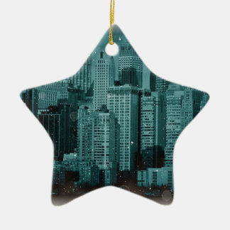 New York - Damaged Photo Effect Ceramic Ornament