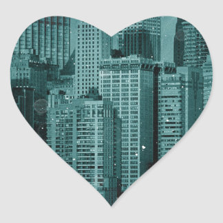 New York - Damaged Photo Effect Heart Sticker
