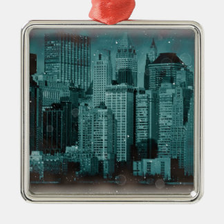 New York - Damaged Photo Effect Metal Ornament